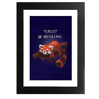 Red Panda To Do List Nothing Framed Print
