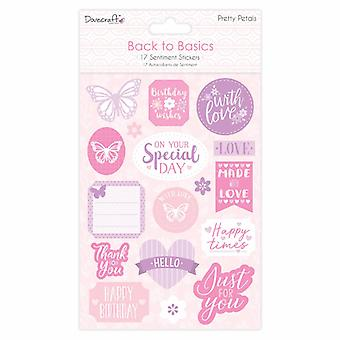 Dovecraft Back to Basics Pretty Petals Flat Sentiment Stickers