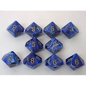 Chessex 10 x D10 Dice Set - Vortex Dice Blue/gold