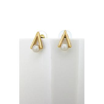 Gold Pearl Triangle Studs - Fashion Øreringe