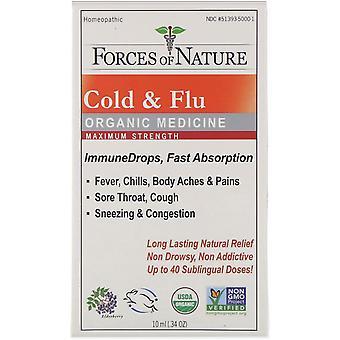 Forces of Nature, Cold & Flu, Organic Medicine, ImmuneDrops, Maximum Strength, 0