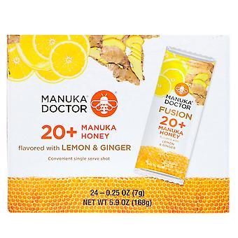 Manuka Doctor, Fusion 20+ Miel de Manuka, Citron & Gingembre, 24 Sachets, 0,25 oz (7 g