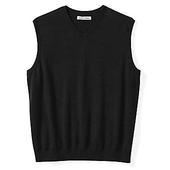 Essentials Men's Big & Tall V-Neck Sweater Vest, Black, 2X