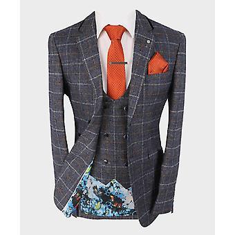 Men's Bonita Blue Slim Fit Tweed Check Suit