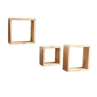 Rebecca Furniture Set 3 Étagères Bibliothèque carrée Light Wood Design Retro 26x26x9