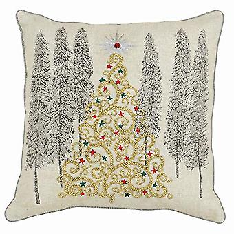 Riva Paoletti Advent Gold Christmas Tree Cushion Cover