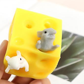 Hide And Seek Stress Relief Mouse And Cheese Toy - Squishable Figures Block