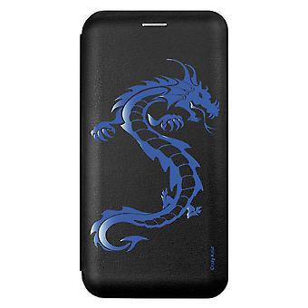 Geschirr für Samsung Galaxy A21s Schwarz Blaues Drachenmuster