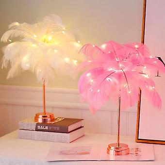 Usb Rechargeable, Tree Shape Led Lights - Feather Table Lamp