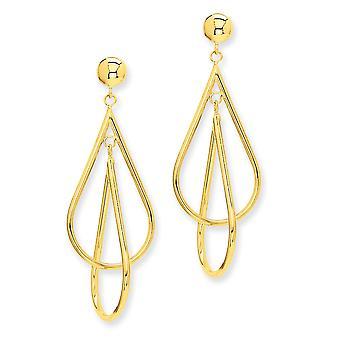 14k Yellow Gold Polished Post Earrings Double Teardrop Dangle Earrings - 3.0 Grams