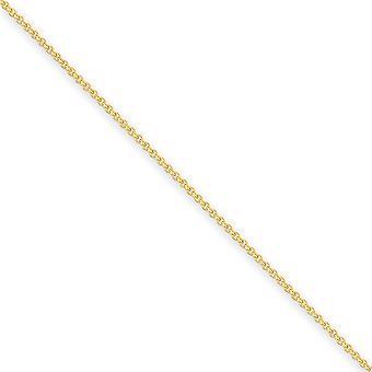 14 k Gelbgold solide poliert Hummer Kralle Verschluss 1,5 mm Kabel Kette Fußkettchen Hummer Kralle Schmuck Geschenke für Frauen - Leng