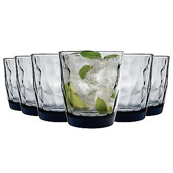 Bormioli Rocco Diamond Double Old Fashioned Tumbler Glasses Set - 390ml - Blue - Pack of 12