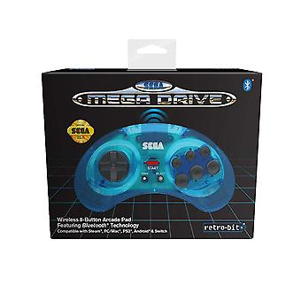 Retro-Bit Official SEGA MegaDrive Wireless Controller with Bluetooth Clear Blue
