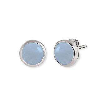 Angel Whisperer Aquamarine Sterling Silver Rhodium Plated 10mm Stud Earrings ERE-AQ-ST