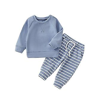 Casual Long Sleeve Sleepwear-striped Pattern Pants And Top Set