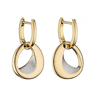 Fiorelli Silver Assembled Hoop Organic Sculped Polished Gold Plating Satin Finished Silver Earrings E5835