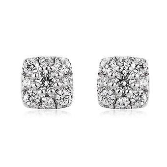 J Francis Platinum Plated Silver Stud Oorbellen Swarovski® Zirconia 1.00 Ct.