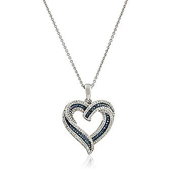 Sterling Silver Blue and White Diamond Heart Pendant, White, Size No Size