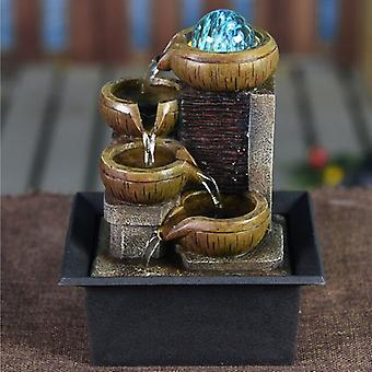 Stuff Certified® Mini Ornamental Waterfall Feng Shui - LED Fountain Decor Ornament Light Brown