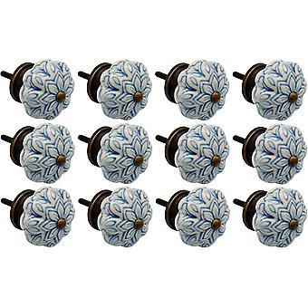Nicola Frühling Keramik Schrank Schublade Knöpfe - Vintage Blumen-Design - hellblau - Packung mit 12