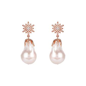 Earrings White Natural Baroque Pearl Star Starbust Pink Rose Gold Gemstone Drop