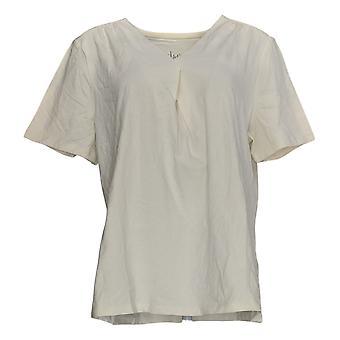 Denim & Co. Kvinder's Top kortærmet plisseret V-Neck Ivory A378204