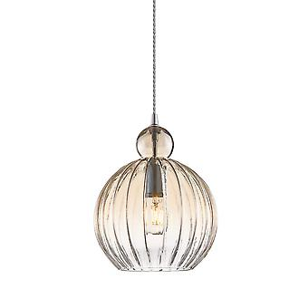 Moderne hangende hanghanger Chrome 1 Licht met Cognac Shade, E27 Dimbaar