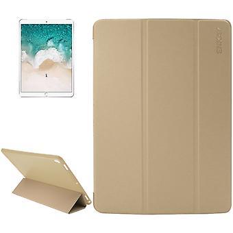 ENKAY for iPad Pro 10.5 inch Lambskin Texture + Silicone Bottom Case Horizontal Flip Leather Case with Three-folding Holder & Sleep Function(Gold)