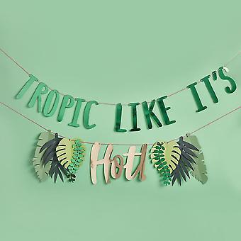 Tropic Ligesom det er Hot Banner | Tropisk Bunting Sommer Fødselsdagsfest Indretning 2m
