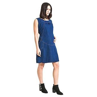 Tamsin ermeløs denim fødselspermisjon kjole - blå