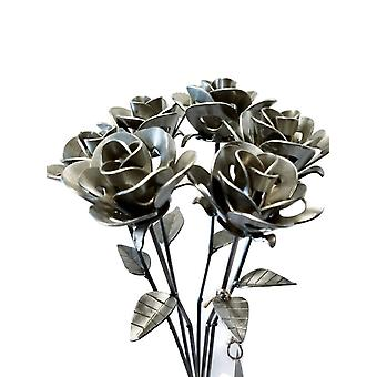 Half Dozen Welded Metal Rose Sculptures