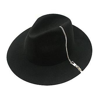 Cool Black Zipper Fedora Vintage Women Ladies Floppy Wide Brim Wool Fedora
