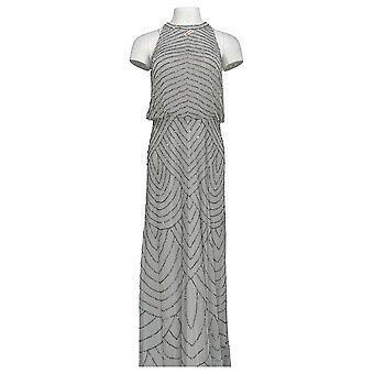 Adrianna Papell vestido art deco cuentas Blouson W/ Halter escote gris