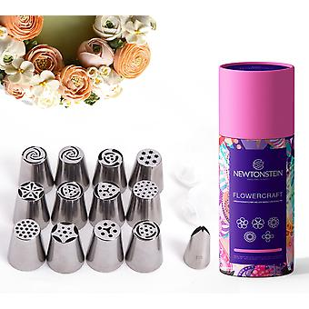 Flowercraft - 17pc Set With 12 Various Russian Flower And Leaf Making Icing Nozzle Tips With 2 Sizes Re-usable Cotton Icing Bags For Cakes And Cupcake