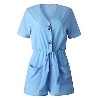 Summer Playsuit Short Sleeve Tie V-neck Elastic Waist Jumpsuit