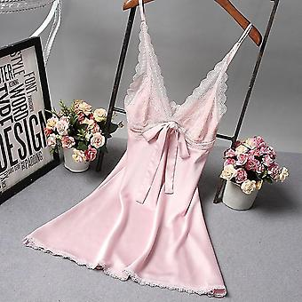 New Robe Satin Nightgown Sexy Nightshirt Sleepwear Lace Bath Gown Casual Home