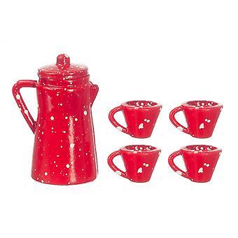 בית הבובות קנקן קפה אדום ספוט & ספלים מיניאטורי מטבח אביזר