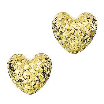14k goud diamant geslepen gezwollen hart Stud Earrings Stud Earrings, 7 x 8mm