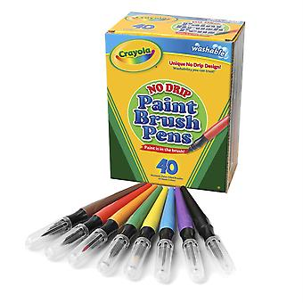 No-Drip Washable Paint Brush Pens, 8 Assorted Colors, 40 Count