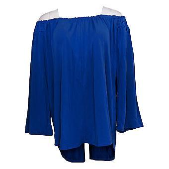 Kelly by Clinton Kelly Women's Plus Top 3/4 Flutter Sleeve Blue A304700