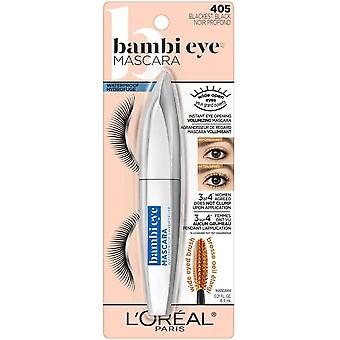 L'Oreal Paris Bambi Eye Waterproof Mascara, Instant Eye opening Defined Volume, Blackest Black, 8 Milliliters