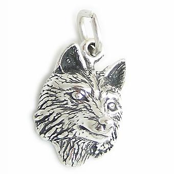 Wolf Face Sterling Silver Charm .925 X 1 Wolves Wolfs Head Charms - 3555