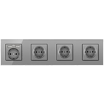 Glass Panel Four Slot Power Socket Without Pins With 2usb Charging Port