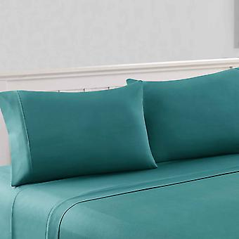 Bezons 4 Piece California King Microfiber Sheet Set With 1800 Thread Count, Teal Blue