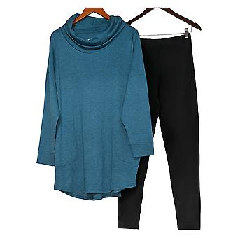 Carole Hochman Set French Terry Cowl Neck Tunic And Legging Set Blue A381863