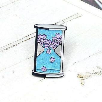 Blue Glitter Hourglass Brooch Sakura Blue Sandstone Romantic Badge