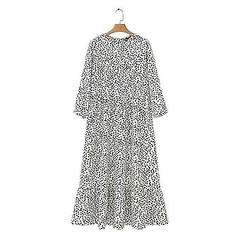 Floral Print Loose Dress, Women O-neck Polka Dot Casual Ruffle Flowy Plus Size