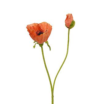 Artificial Silky Poppy stem flower 70 cm orange