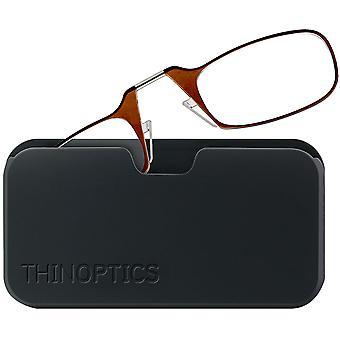 ThinOptics Armless Glasses with Universal Case - Brown Frame, Black Pod