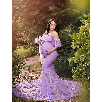 Lace Maternity Long Maxi Gown Evening Pregnancy Photography Props Dress